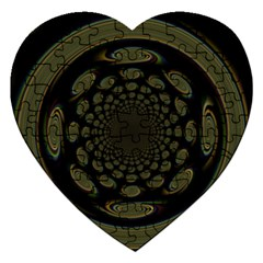 Dark Portal Fractal Esque Background Jigsaw Puzzle (heart) by Nexatart