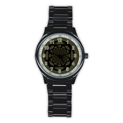 Dark Portal Fractal Esque Background Stainless Steel Round Watch by Nexatart