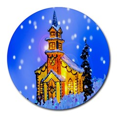 Winter Church Round Mousepads by Nexatart