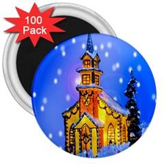 Winter Church 3  Magnets (100 Pack) by Nexatart