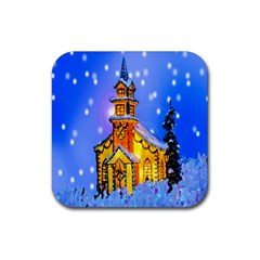 Winter Church Rubber Square Coaster (4 Pack)  by Nexatart