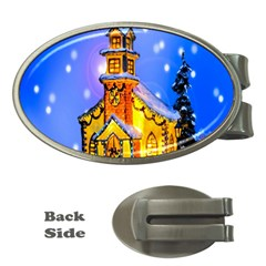 Winter Church Money Clips (oval)  by Nexatart