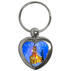 Winter Church Key Chains (heart)  by Nexatart