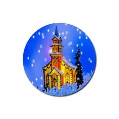 Winter Church Rubber Round Coaster (4 Pack)