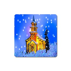 Winter Church Square Magnet by Nexatart