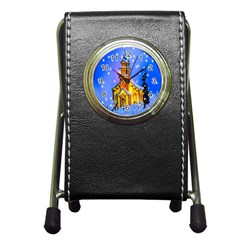 Winter Church Pen Holder Desk Clocks