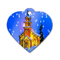 Winter Church Dog Tag Heart (one Side) by Nexatart
