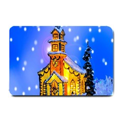 Winter Church Small Doormat  by Nexatart