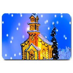 Winter Church Large Doormat  by Nexatart
