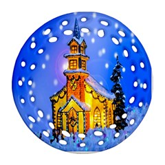 Winter Church Round Filigree Ornament (two Sides) by Nexatart