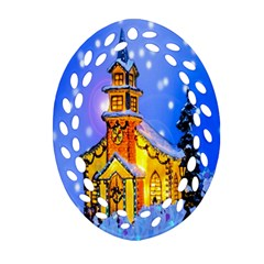Winter Church Ornament (oval Filigree) by Nexatart