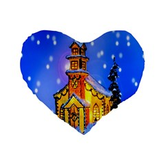 Winter Church Standard 16  Premium Flano Heart Shape Cushions by Nexatart