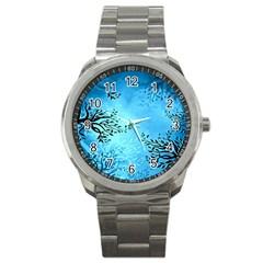 Blue Night Portrait Background Sport Metal Watch by Nexatart