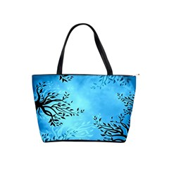 Blue Night Portrait Background Shoulder Handbags