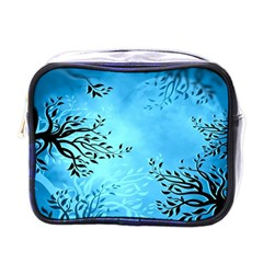Blue Night Portrait Background Mini Toiletries Bags by Nexatart