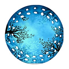Blue Night Portrait Background Round Filigree Ornament (two Sides) by Nexatart