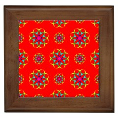 Rainbow Colors Geometric Circles Seamless Pattern On Red Background Framed Tiles