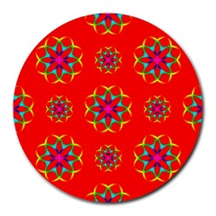 Rainbow Colors Geometric Circles Seamless Pattern On Red Background Round Mousepads by Nexatart
