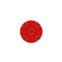 Rainbow Colors Geometric Circles Seamless Pattern On Red Background 1  Mini Buttons by Nexatart