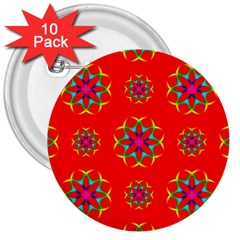 Rainbow Colors Geometric Circles Seamless Pattern On Red Background 3  Buttons (10 pack)