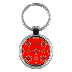 Rainbow Colors Geometric Circles Seamless Pattern On Red Background Key Chains (Round)