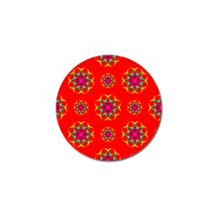Rainbow Colors Geometric Circles Seamless Pattern On Red Background Golf Ball Marker