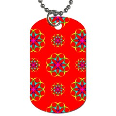 Rainbow Colors Geometric Circles Seamless Pattern On Red Background Dog Tag (two Sides) by Nexatart