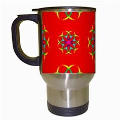 Rainbow Colors Geometric Circles Seamless Pattern On Red Background Travel Mugs (white) by Nexatart