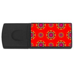 Rainbow Colors Geometric Circles Seamless Pattern On Red Background Usb Flash Drive Rectangular (4 Gb)