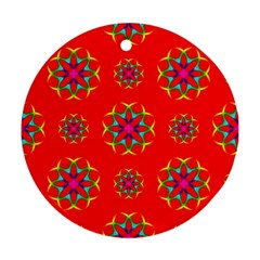 Rainbow Colors Geometric Circles Seamless Pattern On Red Background Round Ornament (two Sides)