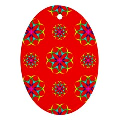 Rainbow Colors Geometric Circles Seamless Pattern On Red Background Oval Ornament (two Sides)