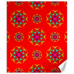 Rainbow Colors Geometric Circles Seamless Pattern On Red Background Canvas 20  X 24