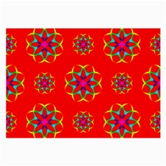 Rainbow Colors Geometric Circles Seamless Pattern On Red Background Large Glasses Cloth by Nexatart