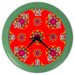 Rainbow Colors Geometric Circles Seamless Pattern On Red Background Color Wall Clocks by Nexatart
