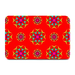 Rainbow Colors Geometric Circles Seamless Pattern On Red Background Plate Mats by Nexatart
