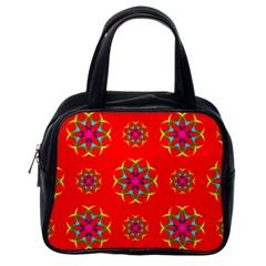 Rainbow Colors Geometric Circles Seamless Pattern On Red Background Classic Handbags (one Side) by Nexatart