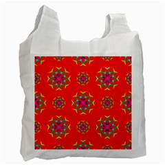 Rainbow Colors Geometric Circles Seamless Pattern On Red Background Recycle Bag (two Side)  by Nexatart