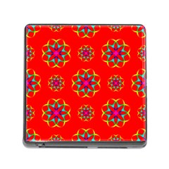 Rainbow Colors Geometric Circles Seamless Pattern On Red Background Memory Card Reader (square) by Nexatart