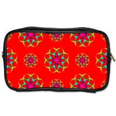 Rainbow Colors Geometric Circles Seamless Pattern On Red Background Toiletries Bags 2 Side by Nexatart