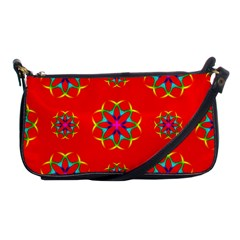 Rainbow Colors Geometric Circles Seamless Pattern On Red Background Shoulder Clutch Bags by Nexatart