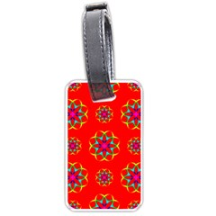 Rainbow Colors Geometric Circles Seamless Pattern On Red Background Luggage Tags (one Side)