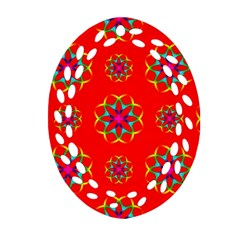 Rainbow Colors Geometric Circles Seamless Pattern On Red Background Oval Filigree Ornament (two Sides) by Nexatart