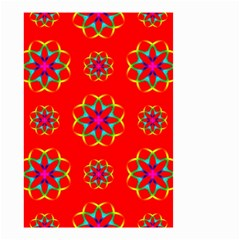 Rainbow Colors Geometric Circles Seamless Pattern On Red Background Small Garden Flag (two Sides) by Nexatart
