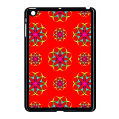Rainbow Colors Geometric Circles Seamless Pattern On Red Background Apple Ipad Mini Case (black) by Nexatart