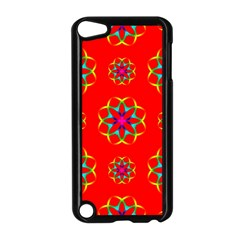 Rainbow Colors Geometric Circles Seamless Pattern On Red Background Apple Ipod Touch 5 Case (black) by Nexatart