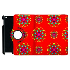 Rainbow Colors Geometric Circles Seamless Pattern On Red Background Apple Ipad 2 Flip 360 Case by Nexatart