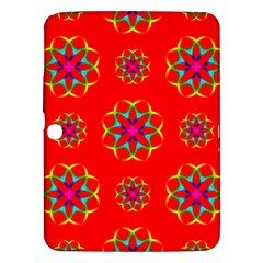 Rainbow Colors Geometric Circles Seamless Pattern On Red Background Samsung Galaxy Tab 3 (10 1 ) P5200 Hardshell Case