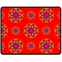 Rainbow Colors Geometric Circles Seamless Pattern On Red Background Double Sided Fleece Blanket (medium)  by Nexatart