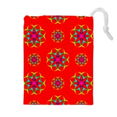 Rainbow Colors Geometric Circles Seamless Pattern On Red Background Drawstring Pouches (extra Large) by Nexatart