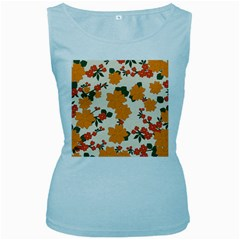 Vintage Floral Wallpaper Background In Shades Of Orange Women s Baby Blue Tank Top by Nexatart